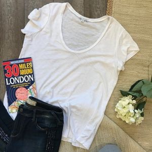 James Perse Classic White Scoop Neck Tee Size 4/XL